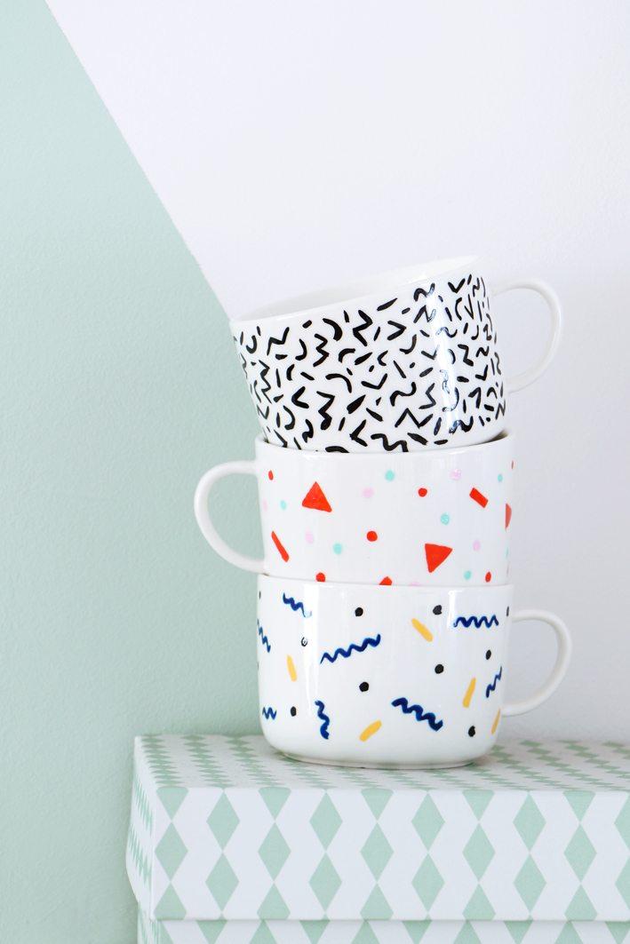 DIY Memphis mugs