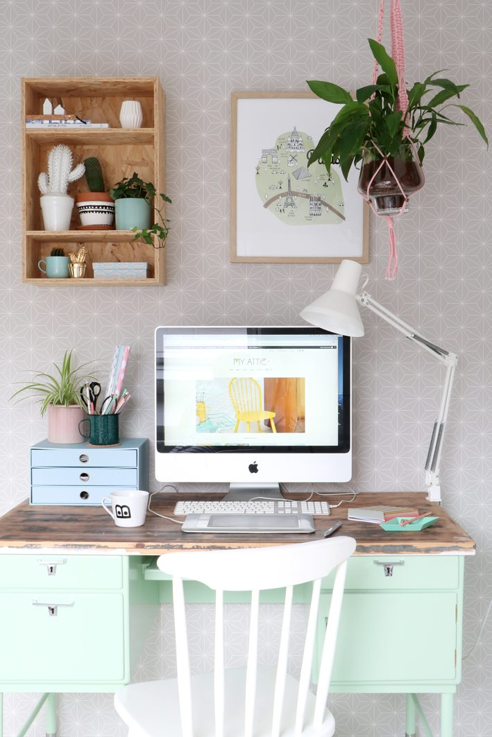 a workspace with plants