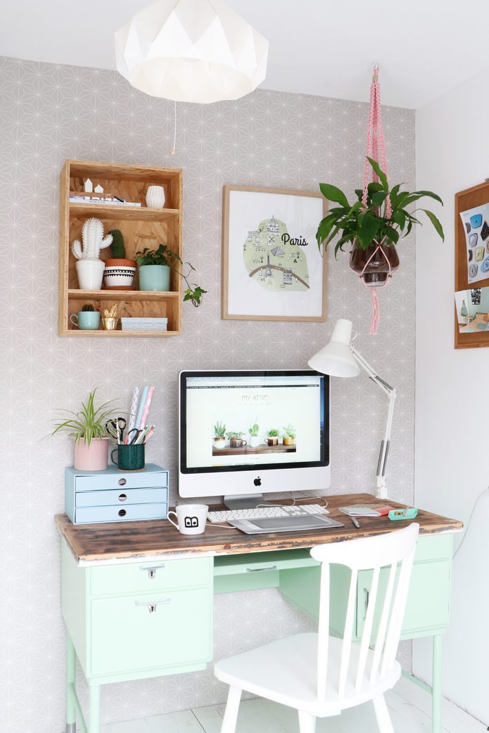 a workspace with plants desk