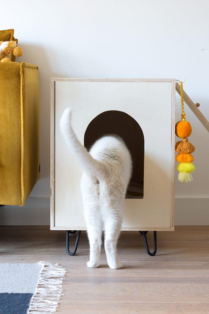 kattenhuisje van hout