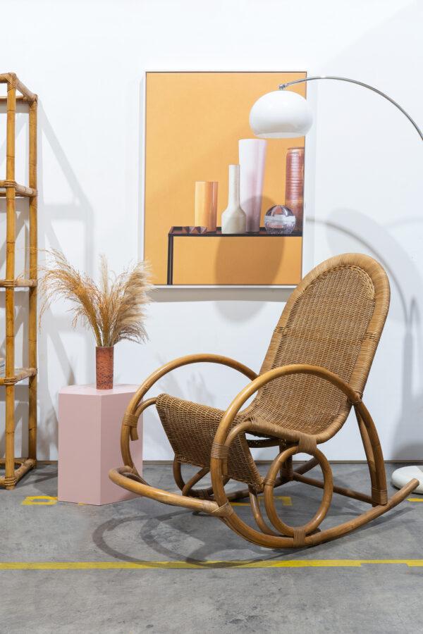 vintage rotan schommelstoel