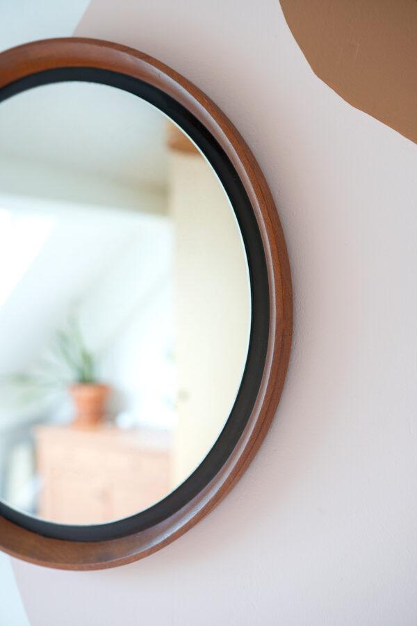 vintage ronde spiegel teakhout
