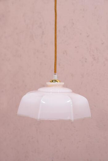 vintage hanglampje roze glas