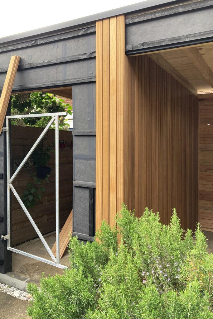 diy overkapping met tuinhuis