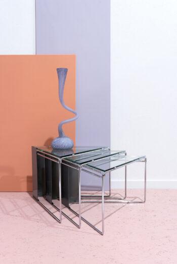 buisframe bijzettafels chroom en glas